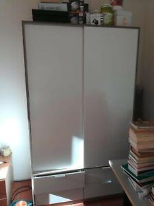 Armadio Ikea Ante Scorrevoli.Armadio A Due Ante Ikea Ante Scorrevoli 4cassetti 4 Scaffali Bianco Ebay