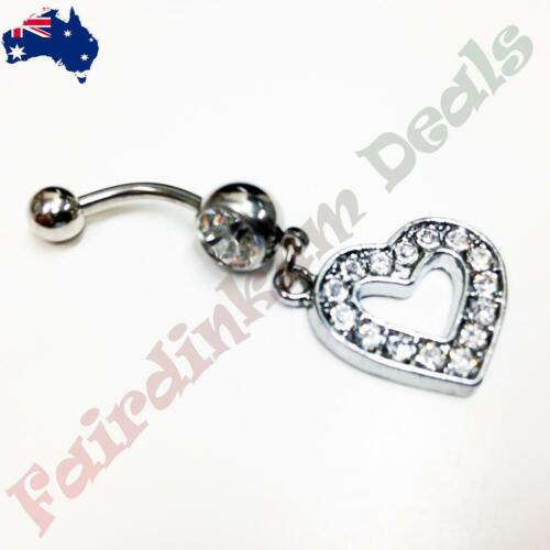 316L Surgical Steel Belly Ring with Clear Gem and Multi CZ Gem Heart Dangle