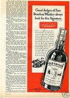 1940 Old Taylor Kentucky Straight Bourbon Whiskey Print Ad