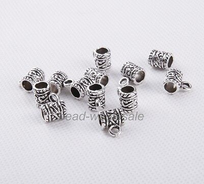 Wholesale Lots 50 pcs Tibetan silver Big Hole Charm Connectors Findings 9x7mm