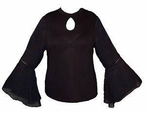 V-by-Very-Women-039-s-Black-Top-New-Chiffon-Long-Sleeve-Cut-Neck-Stretch-Fit-BNWT