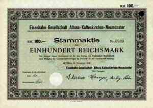 Eisenbahn-Ges-Altona-Kaltenkirchen-Neumuenster-1928-Hamburg-100-RM-Bad-Bramstedt