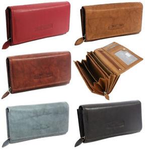 RFID-Schutz-Echtleder-Geldboerse-Damen-Portemonnaie-Geldbeutel-Portmonee-Frauen