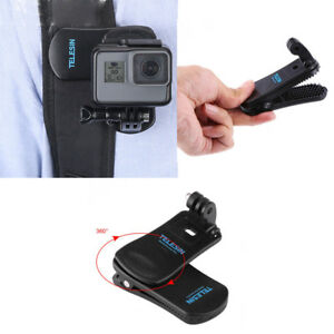 For-Gopro-Hero6-5-4-3-Black-Session-Camera-360-Rotary-Backpack-Clip-Clamp-Mount