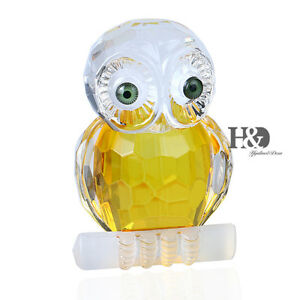 3D-Crystal-Paperweight-Animals-Facet-Branch-Owl-Figurine-Glass-Collectibles-Gift