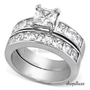 Wide Band Solitaire CZ Womens Stainless Steel Wedding Ring SIZE 5,6,7,8,9,10