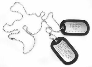 Military-Dog-Tags-Army-Dogtags-26-034-Chain-amp-Silencers-Embossed