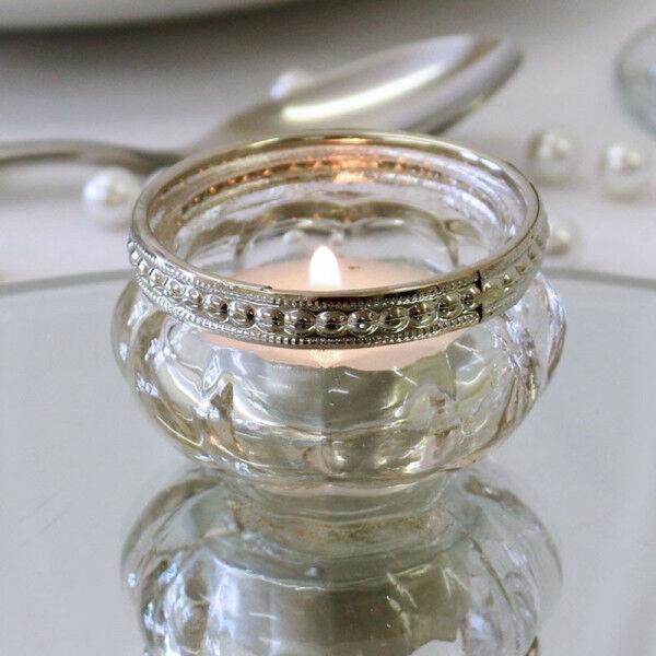 Clear Glass Candle Tea light Holder, Wedding, Table Decor, Christmas, Vintage