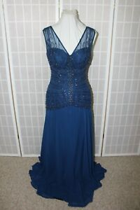 NWT Size 8 Navy chiffon beaded long formal gown, Montage by Mon Cheri 114909