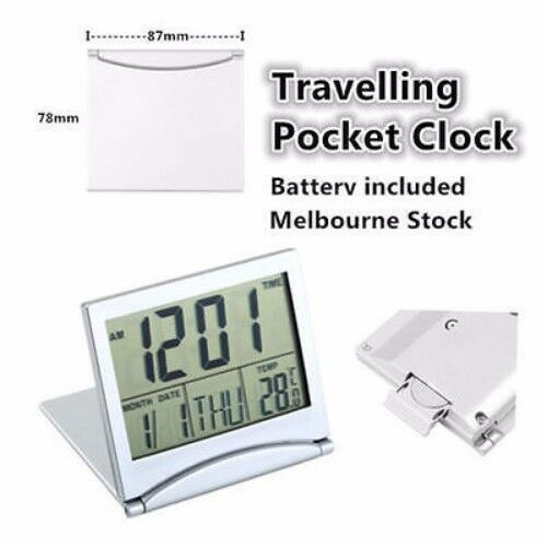 Desk Travel Digital LCD Thermometer Calendar Alarm Clock with Flexible Cover