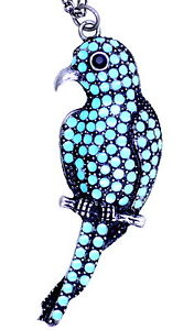 Large-antique-silver-and-turquoise-coloured-parrot-bird-pendant-necklace