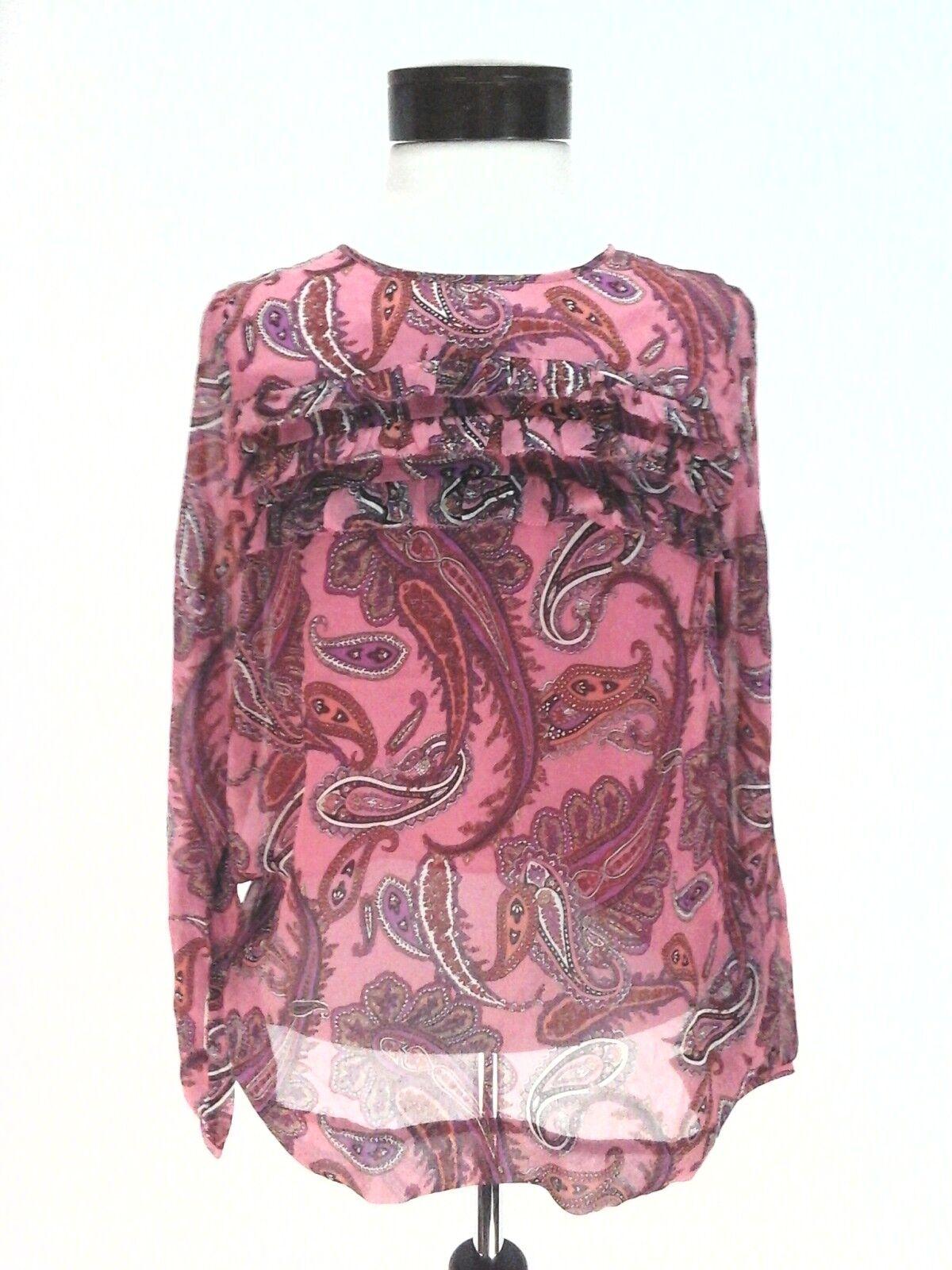 JCREW Silk Shirt Ruffle Blouse Top Rosa lila PAISLEY Woherren 2 Fits XS  New