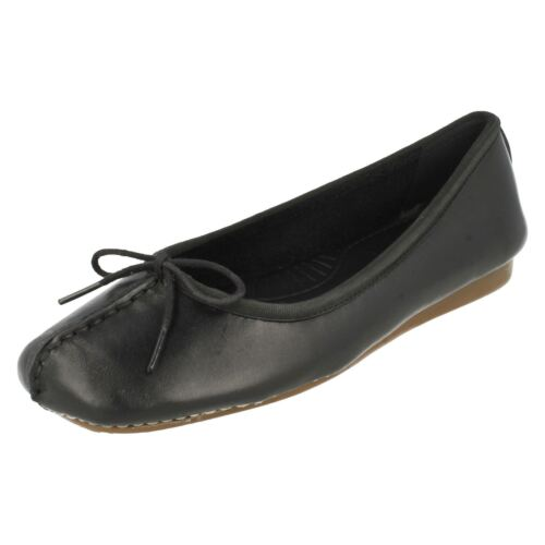 Ladies Clarks Lace Bow Ballerina Style Slip On Leather Flats Freckle Ice
