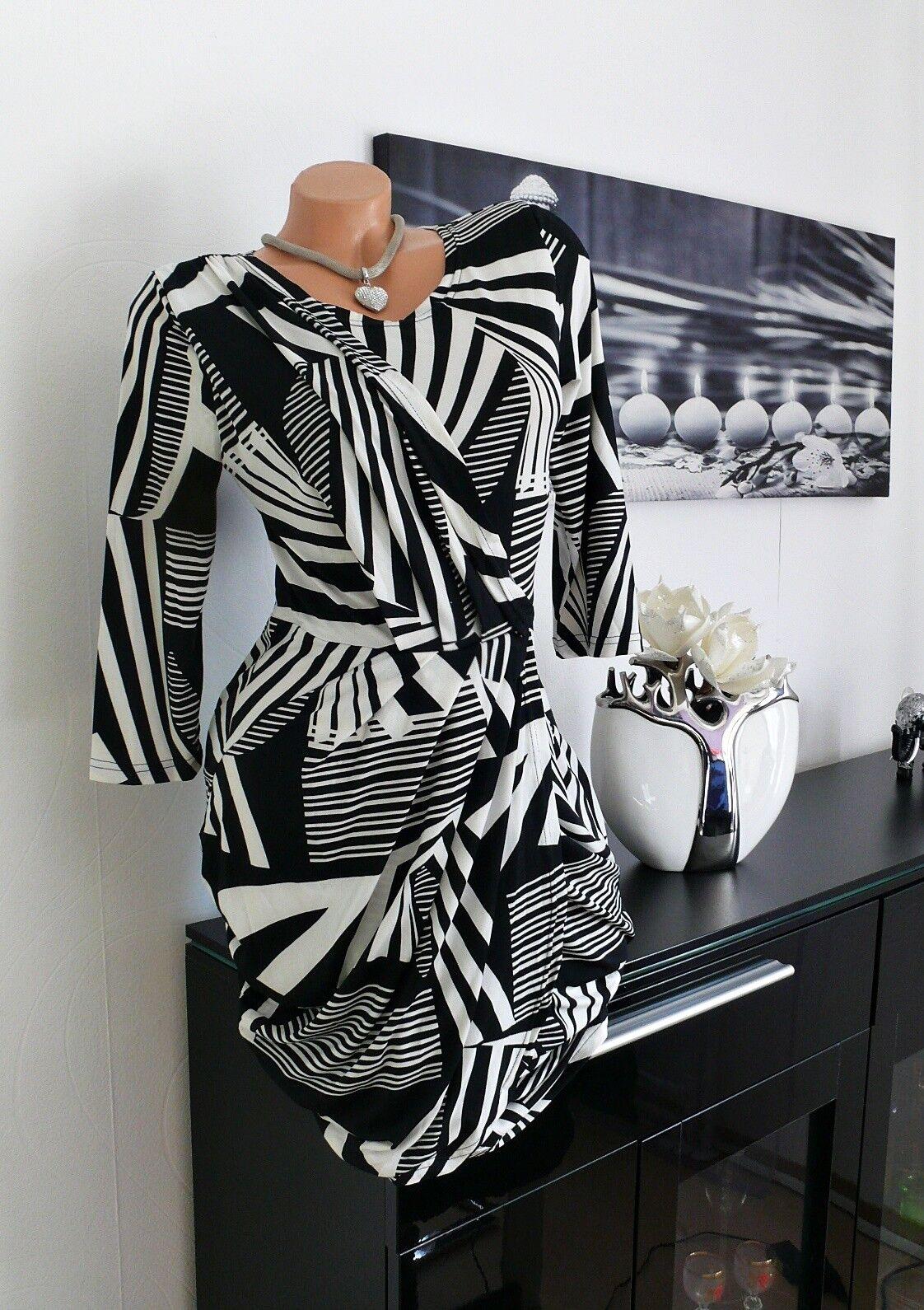 ♥ Traumhaft   Wickel Stiefel Kleid Tunika schwarz weiss 36 38 40  gr NEU ♥