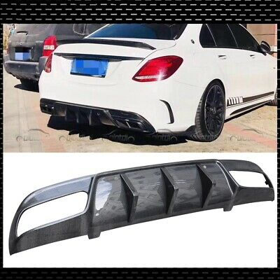 DRY CARBON FIBER REAR DIFFUSER COVER FOR 2015 W205 C250 C300 C450 AMG SPORT 4Dr
