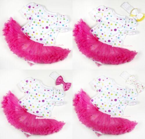 White Rainbow Dot Infant Baby Dress Bubble Romper Jumpsuit Hot Pink Skirt NB-12m