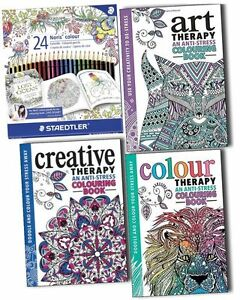 Image Is Loading Art Therapy Anti Stress Adult Colouring 3 Books