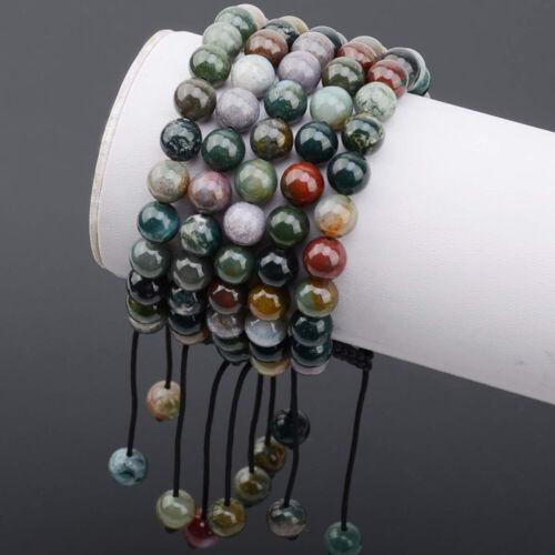 Unisexe Réglable MACRAME main tressé Indien Agate Pierre De Guérison perles bracelet