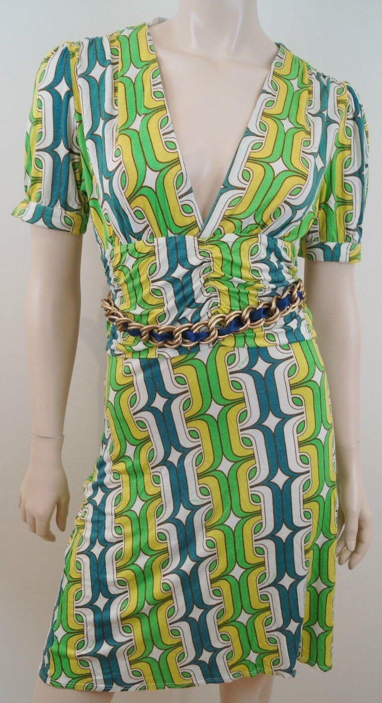 T-BAGS LOS ANGELES Green Bold Geometric Print gold Tone Belted Mini Dress Sz M