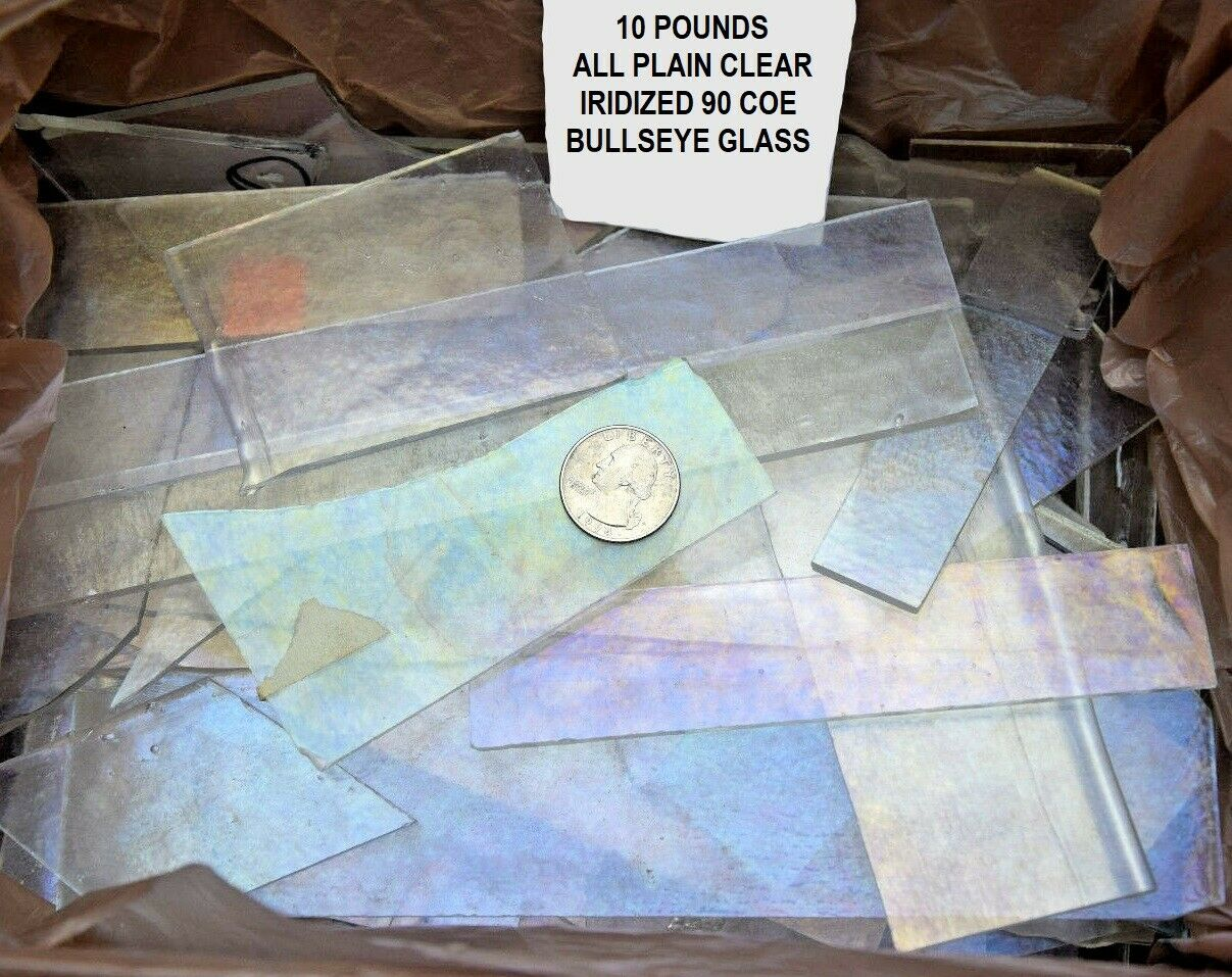 ONE POUND OF LARGE CLEAR IRIDIZED FUSIBLE BULLSEYE SHEET GLASS SCRAP 90 COE