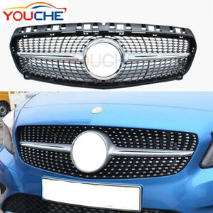 Front-Hood-Grille-for-Mercedes-A180-A220-A250-Diamond-Style-Silver-W176-2013-15