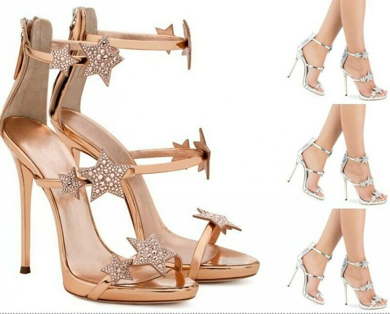 Summer scarpe donna High Heel Crystal Stars Sandals Evening Dress scarpe Back Zip