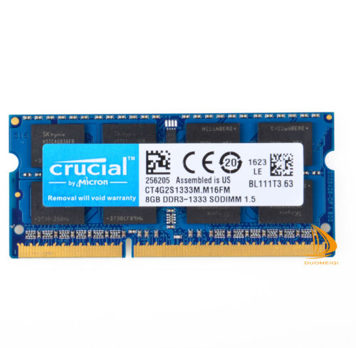 Crucial DDR3 8GB PC3-10600S 1333Mhz SODIMM Laptop Memory RAM 204Pin CL9 NON-ECC
