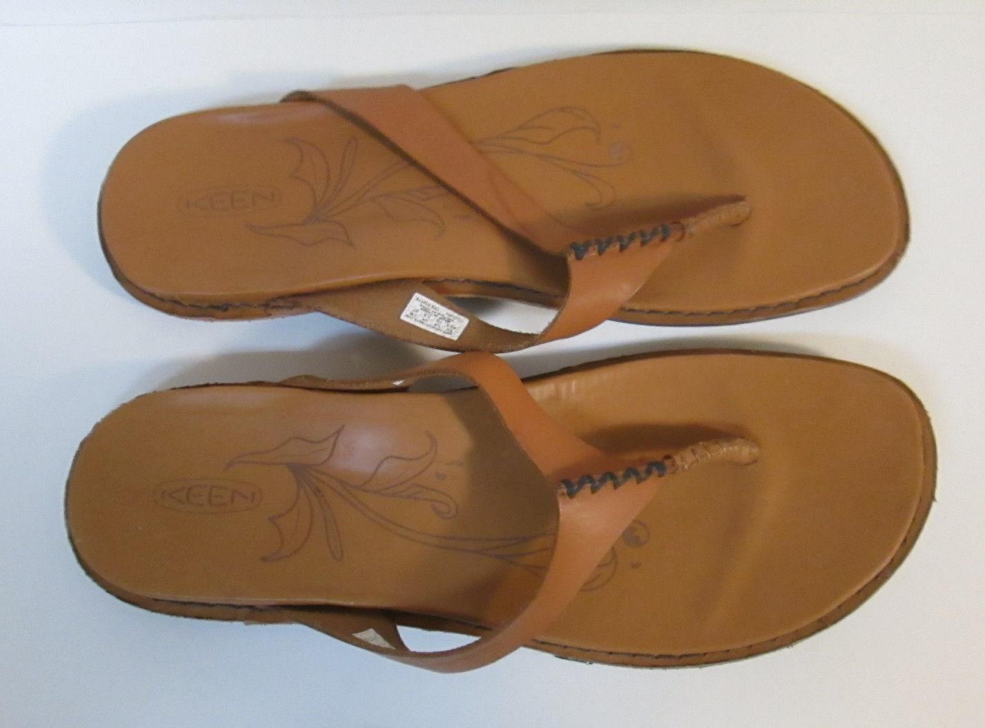 KEEN Womens sz 10 Cymbal Tan Alman Flip Flop Leather Casual Sandals Flats shoes