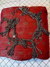 Vintage Tribal Ethnic Middle Eastern Silver Metal Adjustable Necklace Belt Craft