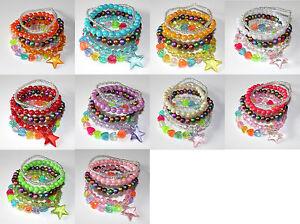 Acrylic Multi Coloured Elasticated Bracelet (5 pack set)