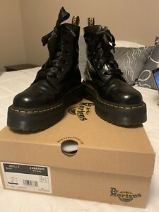 DR-MARTENS-Gorgeous-MOLLY-Buttero-BLACK-Satin-Lace-PLATFORM-Boots-US-9-9-5-UK-7