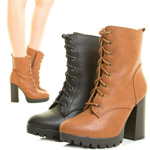 086769d2c75 Womens Ankle Booties Lace Up Chunky Thick Heel Lug Sole Platform ...
