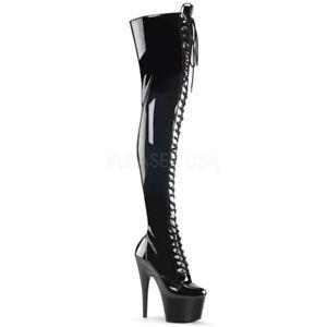 PLEASER ADORE-3028 Extrem Plateau Stiefel Overknee schwarz Lack Gothik Punk Hot