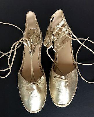 Marc Fisher 8 Misses Gold Leather Ankle Tie Espadrilles SUPER CLEAN, UNUSED!