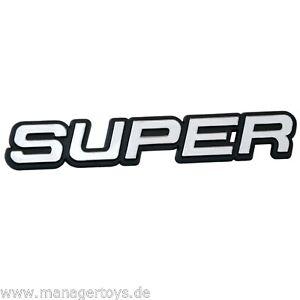 Auto-3D-Relief-Schild-SUPER-11-cm-Emblem-verchromt-HR-Art-14850-selbstklebend