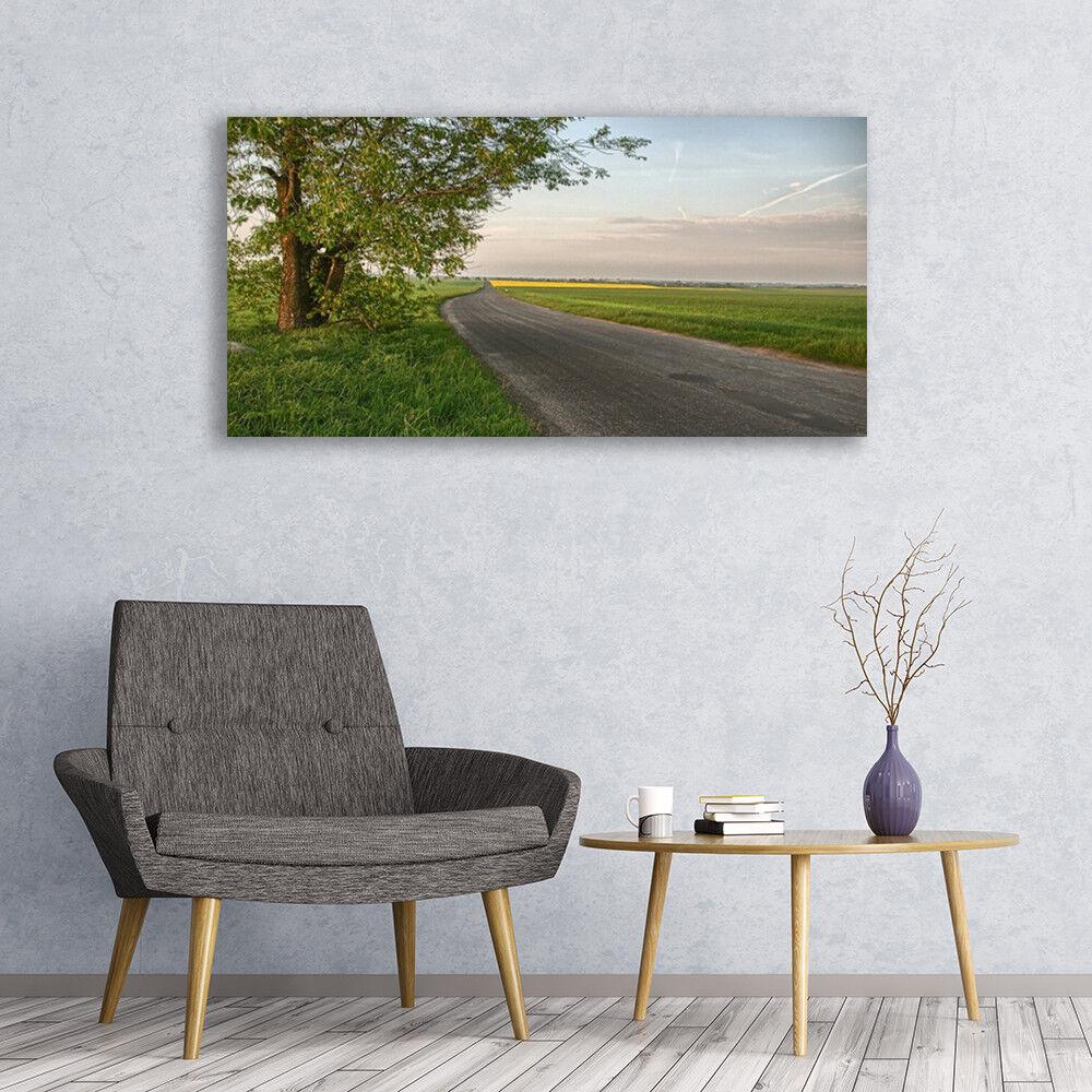 Photo sur toile Tableau Image Impression 120x60 Paysage Rue Arbre Herbe