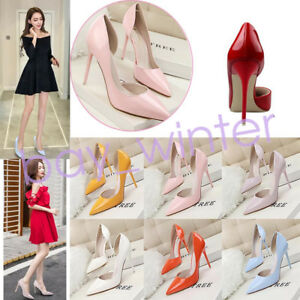Heels-shoes-Patent-Leather-Women-Pumps-Pointed-Toe-Shallow-Fashion-High-Heels