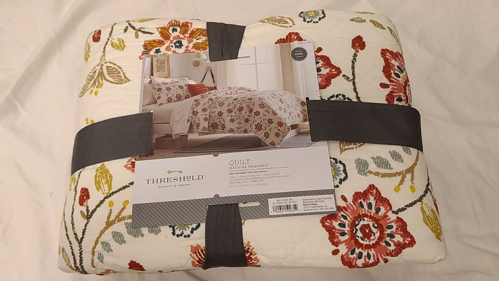 Threshold Stitched Floral Quilt - King