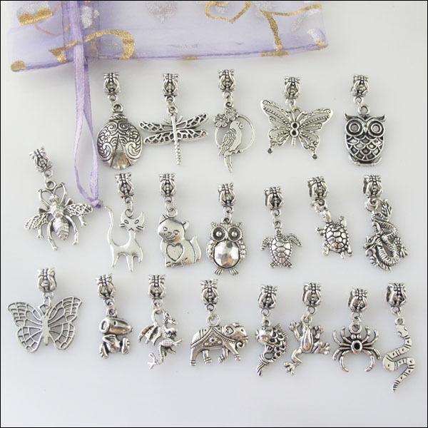 20Pcs Mixed Tibetan Silver Animal Dangle Charms Beads fit European Bracelet F201