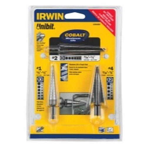 New Irwin Tools 15506SM 3 Piece Unibit HSS and Cobalt Drill Bit Set #1 #2 /& #4