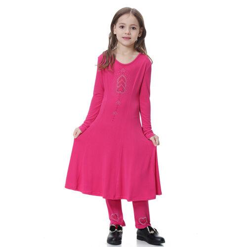 Arab Muslim Islamic Kids Girls Outfit Clothes Tunika Long Sleeve Dress Pants Set
