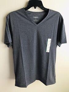 Goodfellow-amp-Co-Men-039-s-Striped-Standard-Fit-Novelty-V-Neck-T-Shirt-Navy-Medium