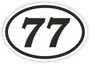 77 >> 77 Seventy Seven Number Oval Sticker Bumper Decal Motocross