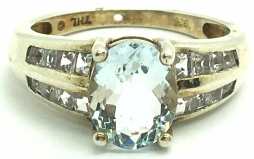 Sterling Silver Gold Tone Faceted Aquamarine CZ Accent Pave Band Cocktail Ring 7