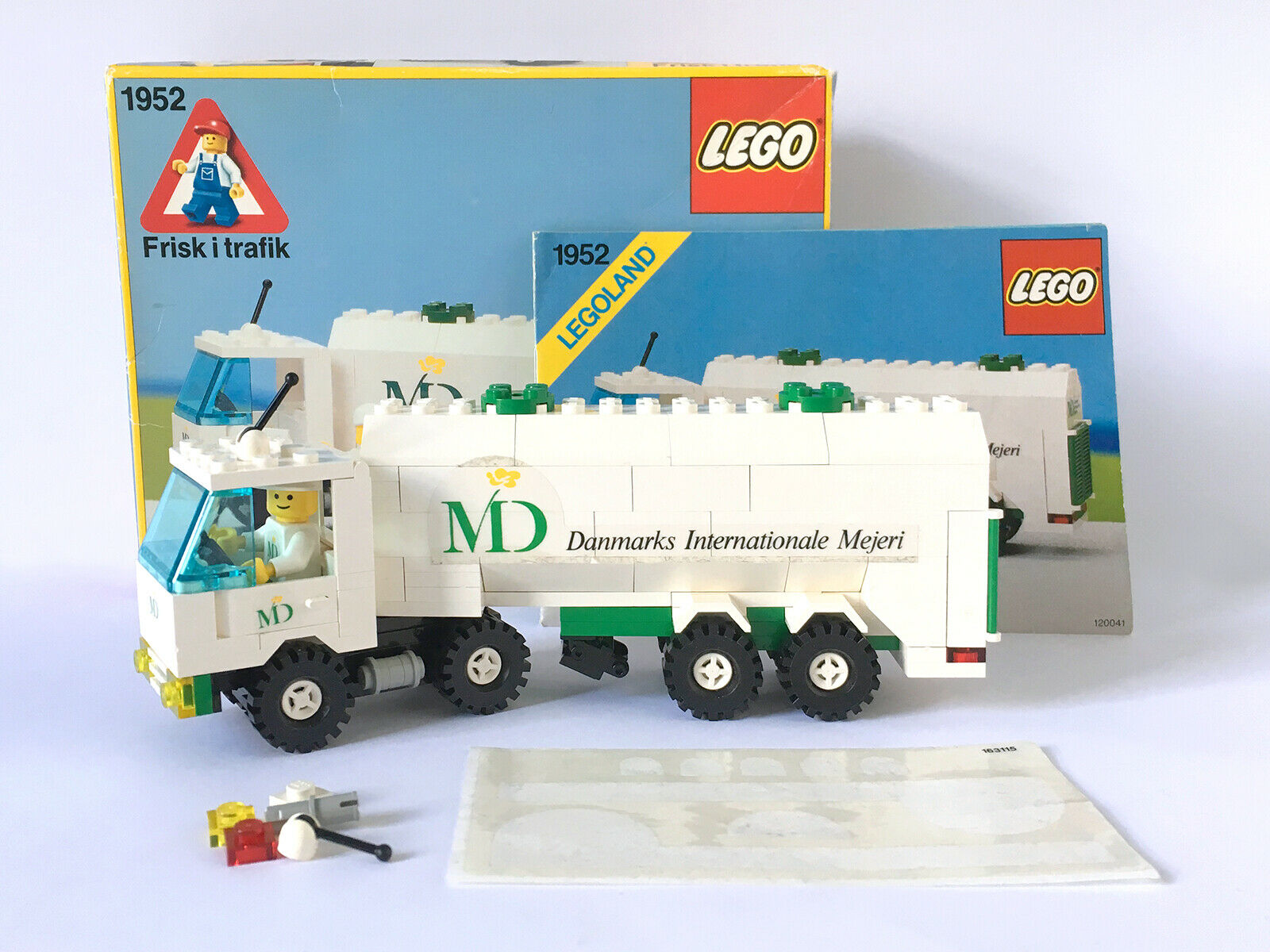 LEGO TOWN 1952 Dairy Cisterna (MD cibo) (1989) in scatola, istruzioni, COMPLETO, RARO