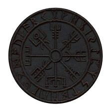 all black vegvisir viking compass embroidered morale tactical sew iron on patch