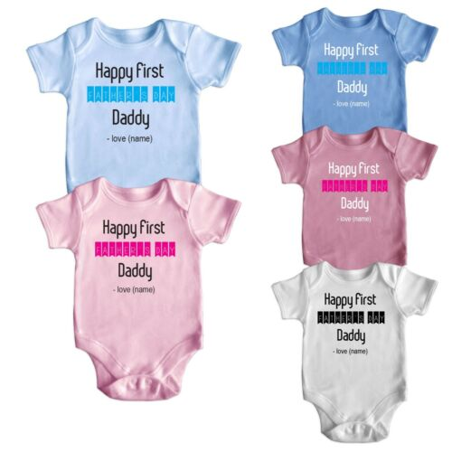 Personalise My First Fathers Day Gift Short Sleeve Baby Grows Newborn 0-18M