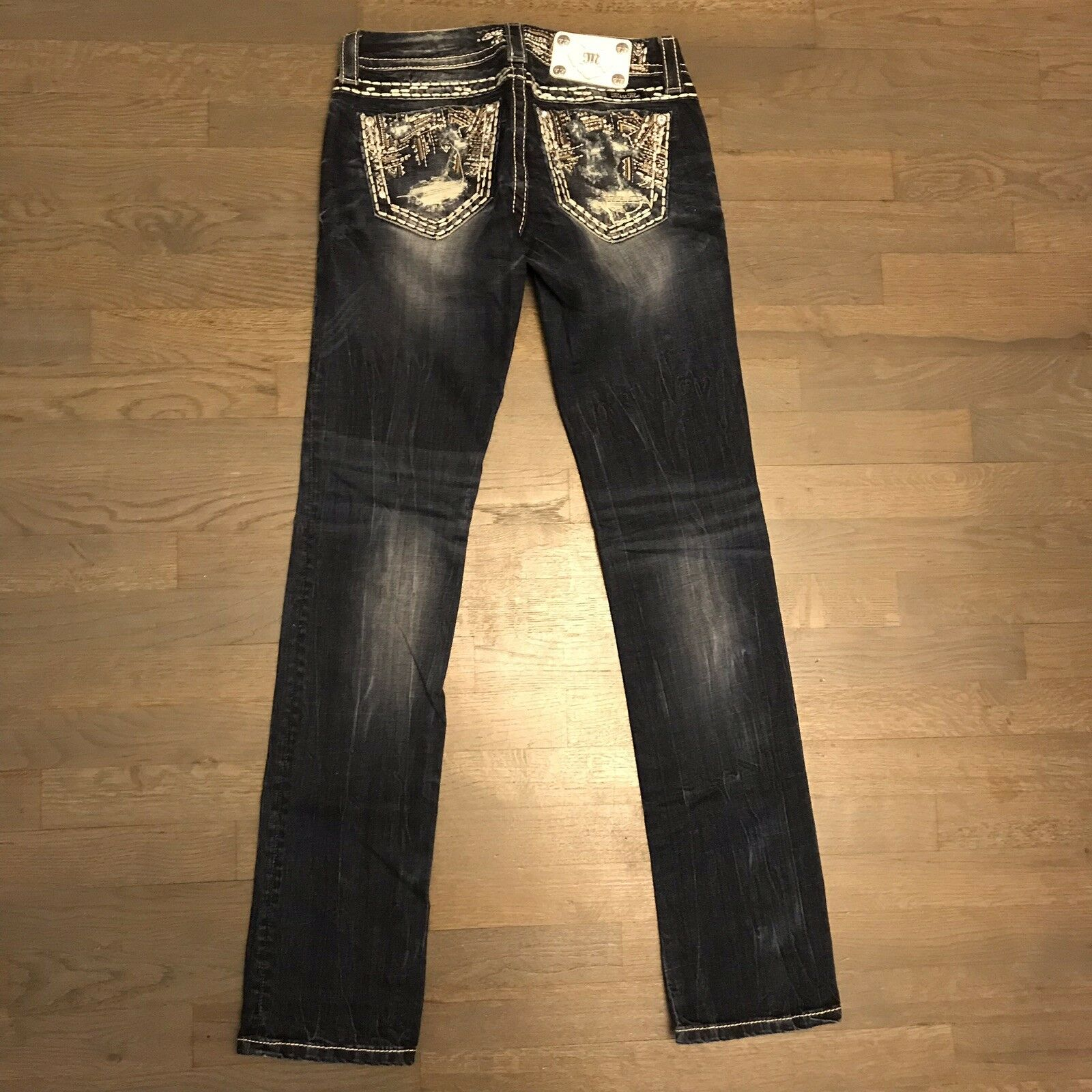 Miss Me Signature Straight Leg Studded Stretch Denim Jeans Woman's Size 26