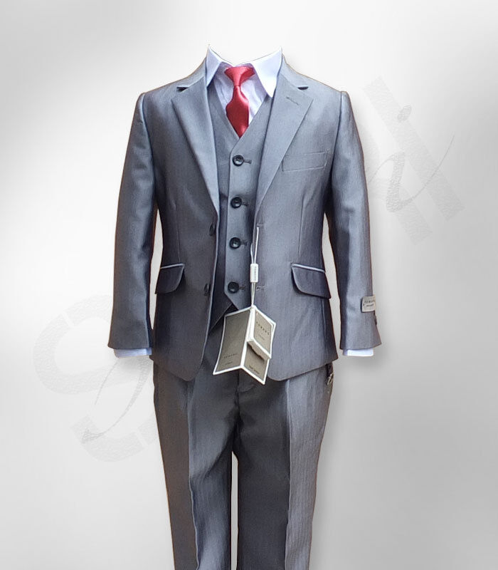 Boys Light Grey 3pc Formal Suit Luxury Wedding Prom Page
