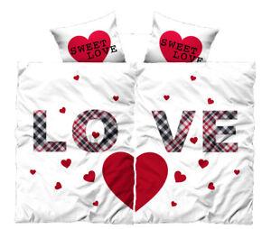 4-tlg-Bettwaesche-135x200-cm-Love-Partner-weiss-Microfaser-2-Garnituren